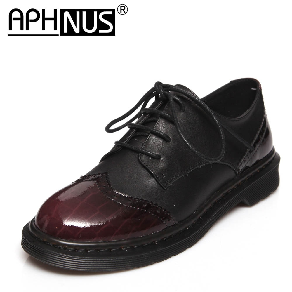 APHNUS Womens Shoes Leather Lace Up OxfordsLow Mid Heels Pumps Woman 2021 Shoes For Women New