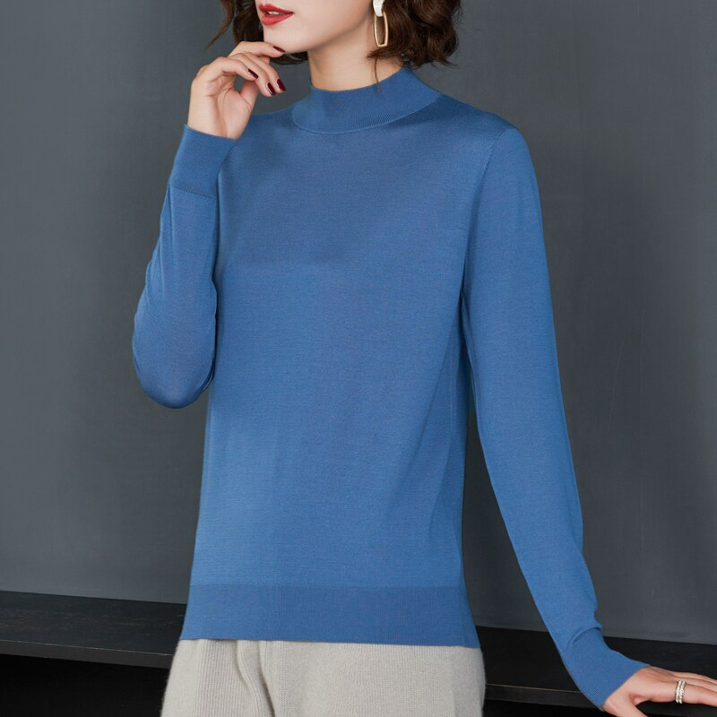 2021 autumn and winter worsted superfine Merino 100% cardigan female semi-turtle neck knitted cashmere bottoming shirt enlarge