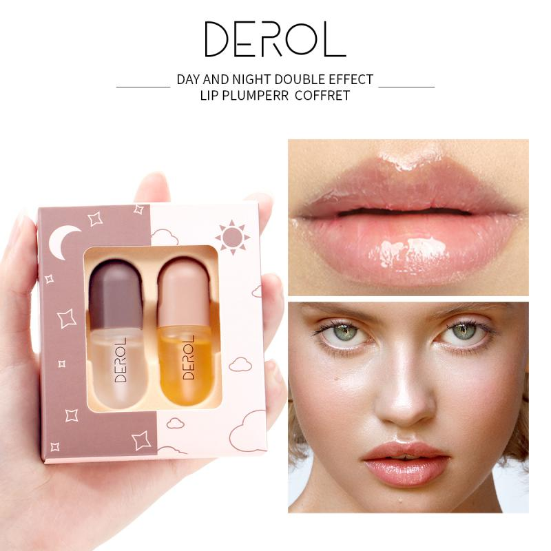 DEROL Day Night Instant Volumising Lip Plumper Enhancer Makeup Moisturizing Moist Elite Fluid Reduce