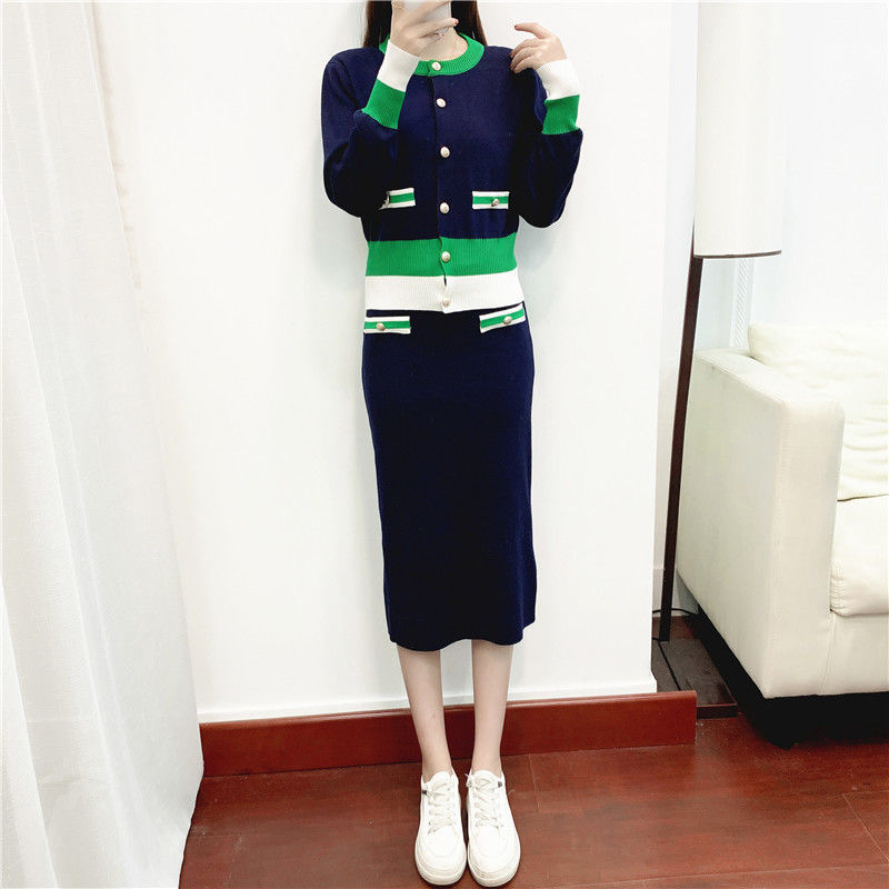 Fashion Western-style Knitted Skirt Two-piece Spring and Autumn New Sweater Hong Kong-style Suit Women's Retro Korean Version  - buy with discount