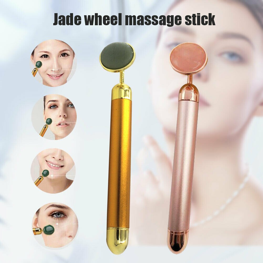 Gran oferta, barra de belleza, rodillo Facial vibratorio, masaje eléctrico con cabezal de piedra, herramienta antiarrugas