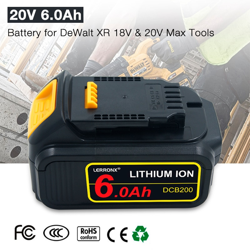 20V 6000mAh بطارية بديلة من الليثيوم أيون بطارية قابلة للشحن ل ديوالت 18V 20V بطارية DCB184 DCB201 DCB200 DCB205 DCD985B DCD780 DCF880