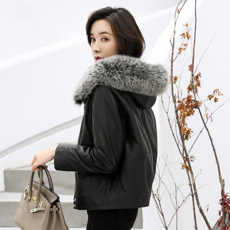 Tcyeek-سترة من الجلد الطبيعي للنساء ، معطف من جلد الغنم ، ياقة من فرو الثعلب الحقيقي ، ملابس خارجية شتوية ، معطف نسائي قصير نحيف ، LW2585