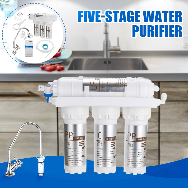 جديد 3 + 2 الترشيح الفائق فلتر لمياه الشرب نظام المنزل منقي مياه المطبخ مع صنبور الحنفية خرطوشة تصفية المياه أطقم