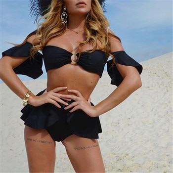 Para Praia 3 יחסט לדחוף את ביקיני סט נשים לפרוע בגדי ים סקסי כבוי כתף גבוהה מותן בגד ים נשים סקסי SkirtBathing חליפה