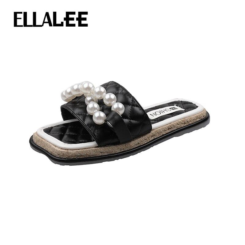 ELLALEE Slippers Women Summer 2021 Fashion Outdoor Soft Beach Female Shoes Open Toe Metal Chain Casual Woman's Flats