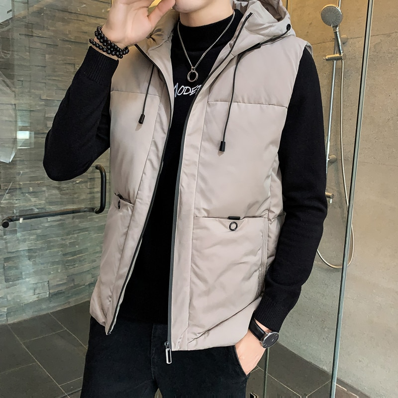 MenS New Fashion In Autumn And Winter Cotton Waistband, Shoulder Thickening, Warm Vest Top, Sleeveless Coat, Hooded