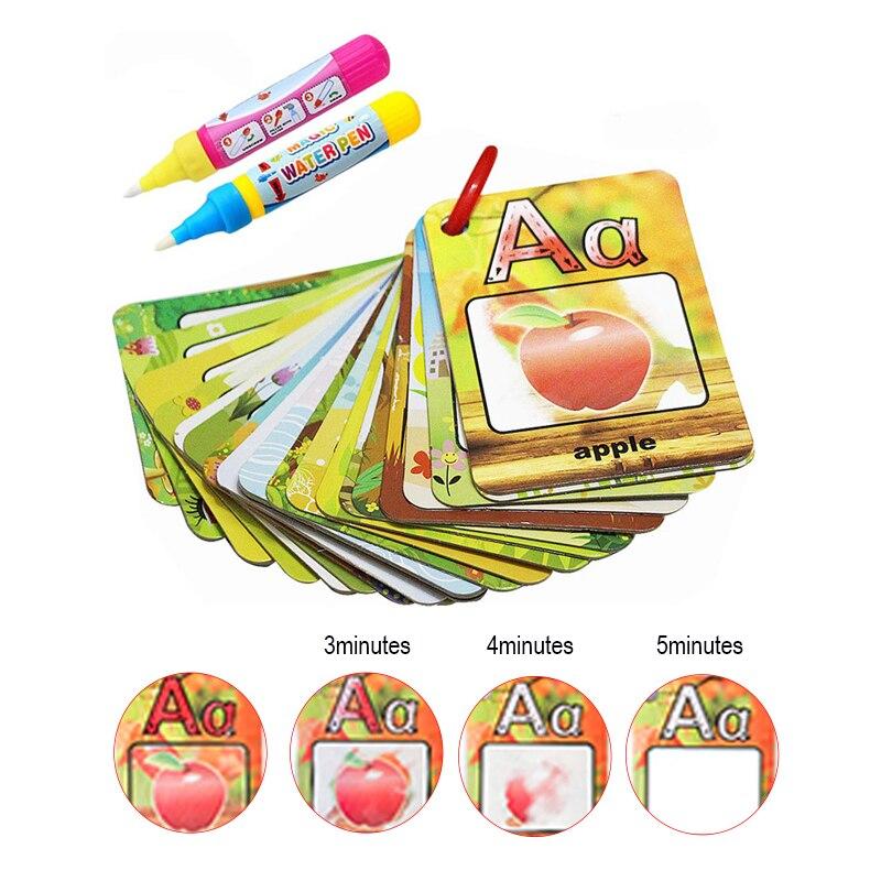 Coolplay woda rysunek karta 26 alfabet kolorowanka i 2 magiczny długopis list karta tabliczka do rysowania/malowania angielski nauka zabawek edukacyjnych