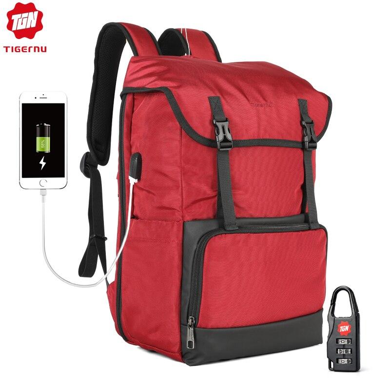 Tigernu New Large Capacity Travel Backpack Women High Quality Waterproof 15.6 inch Laptop School Backpacks USB Female