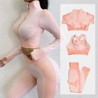 fitness suits yoga women outfits sets long sleeve shirtsport braseamless leggings workout running clothing gym wear