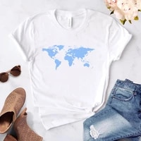 world map t shirts womens summer short sleeve t shirt for girls women clothing woman tee tops dropshipping with sleeves 2021