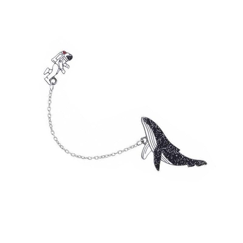 Мультфильм животных одинокий КИТ Pin подвеска в виде космонавта и планеты ракета космического пространства эмали штырь черная рыба значок на цепочке брошка для пальто Модные украшения
