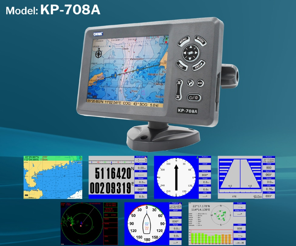 ONWA KP-708A 7-inch Color LCD GPS Chart Plotter with GPS Antenna and Built-in Class B AIS