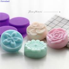 Nouveau Silicone souple de qualité alimentaire à quatre fleurs à la main savon moule bricolage lune gâteau Silicone moldsavon faisant ensemble fournitures de bain gâteau décor