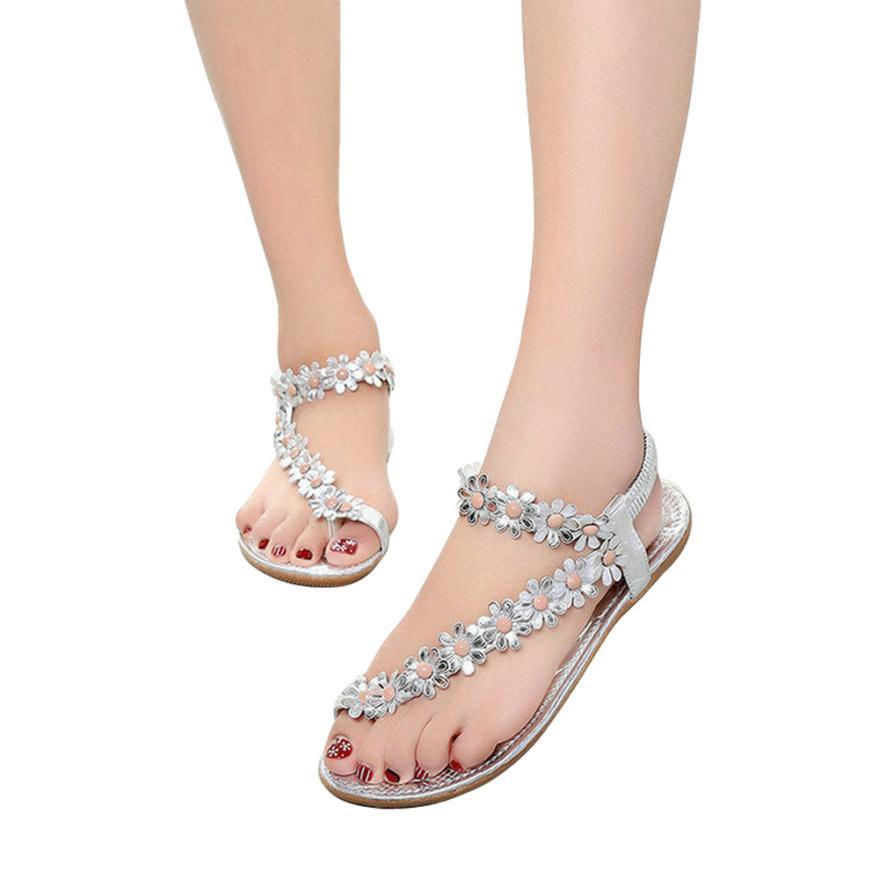 FashionWomens Fashion Sweet Summer Bohemia Sweet Beaded Sandals Clip Toe Sandals Beach Shoes Herringbone Sandals Shoes  #a35
