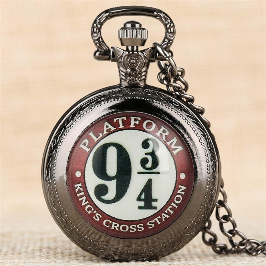 Middle Size Movie Extension Theme 9 3/4 Station Quartz Pocket Watch Exquisite Pendant Necklace Clock