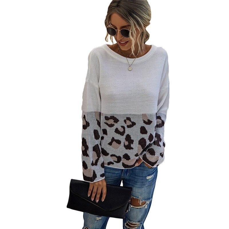 Moda Otoño Invierno 2020 Jersey suelto cuello redondo manga larga estampado de leopardo Jersey