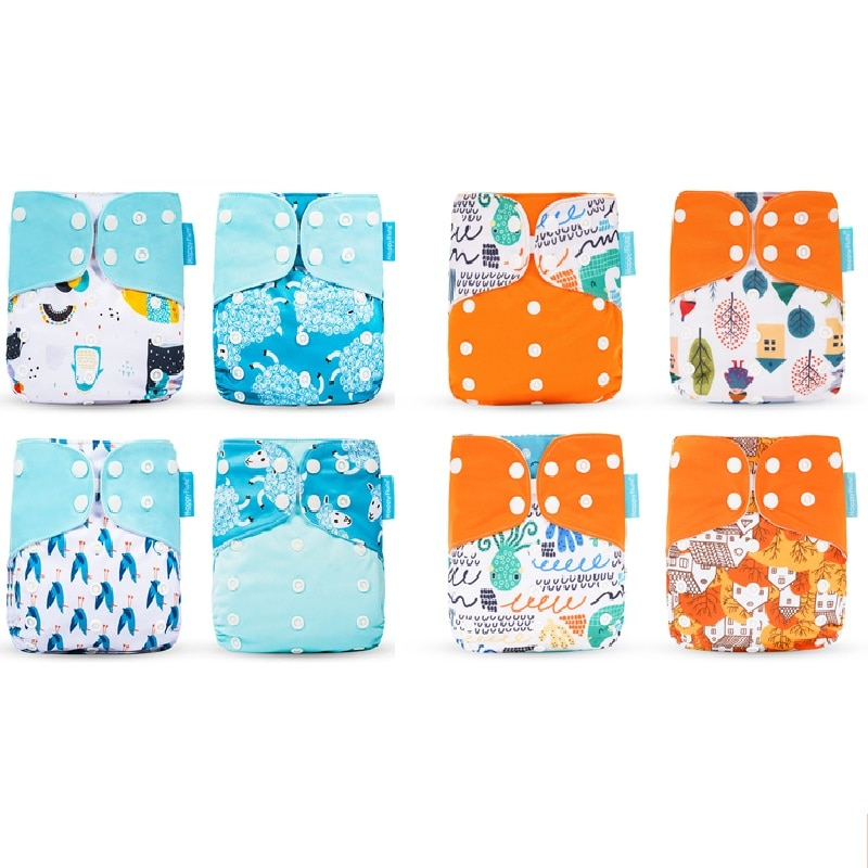 Happyflute HOt Sale OS Pocket Diaper 8pcs diape+8pcs microfiber insert Washable &Reusable Baby Nappy Adjustable Baby Nappy Cover