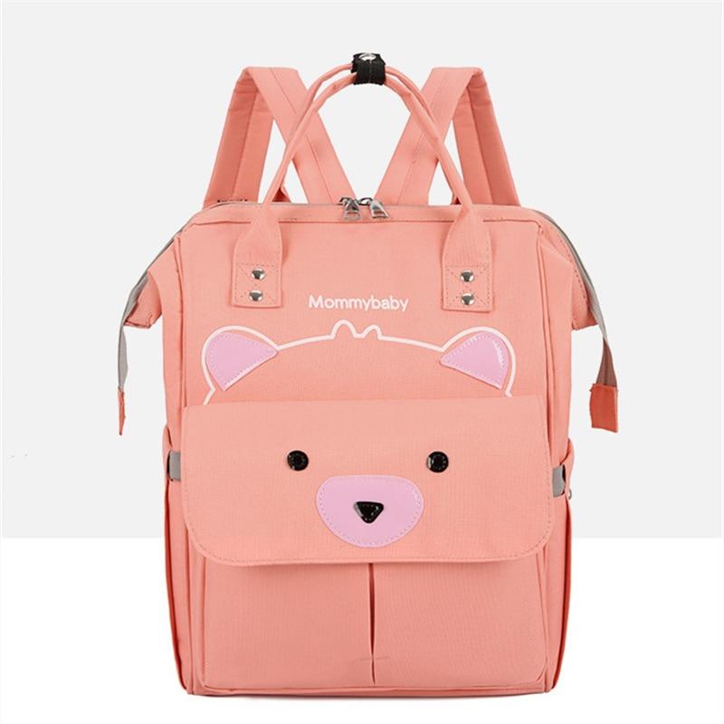 Pink Bear Diaper Bag Baby Care Large Capacity Mom Backpack Mummy Maternity Wet Bag Waterproof Baby Pregnant Bag