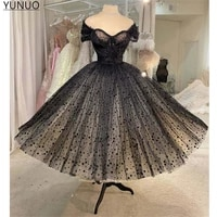 yunuo vintage black polka dotted tulle short prom dresses cap sleeves beads fluffy skirt ankle length formal party gowns 2021