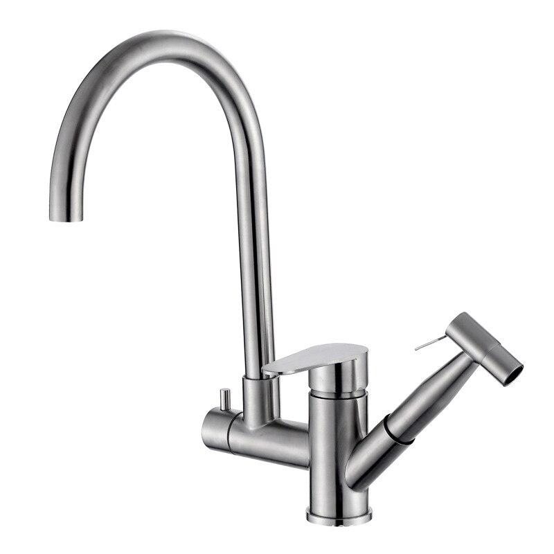 الفولاذ المقاوم للصدأ صنبور المطبخ خلاط حوض مطبخ الحنفية مع سحب البخاخ قطب صنبور الماء الساخن البارد للمنزل
