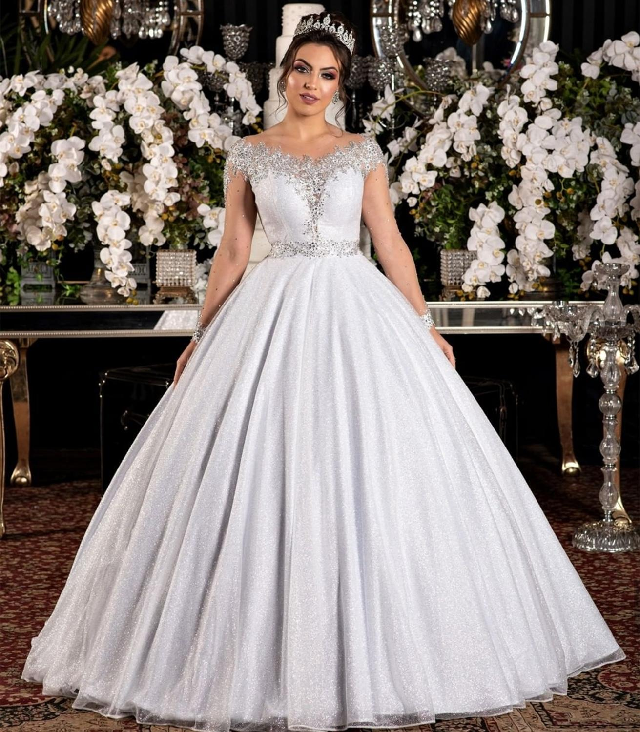 Promo Wedding Dress Ball O-Neck Lace Appliques Sequined Illusion Tulle Full Sleeve Floor Length Luxury Bridal Gown Custom Made New