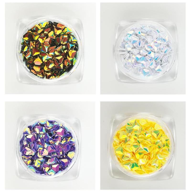 1 Box Chameleon Ab Color Nail Sequins Triangle Rhombus Manicure Nail Decoration Art Colorful 3D Paillette Flakes Glitter H4H9