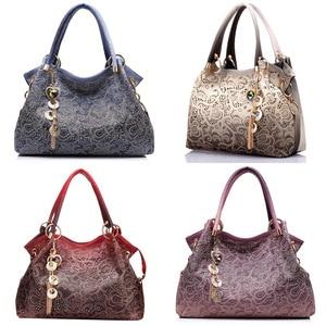 Female Bags for Women Hollow Out Handbags Floral Print Shoulder Bags Ladies Tote Bag Female Tassel Handbag
