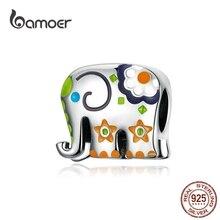 Bamoer Thailand Olifant Zilver 925 Sieraden Charme Voor Vrouwen Kleurrijke Enamel Animal Guardian Kralen Fit Bedels Armbanden BSC095