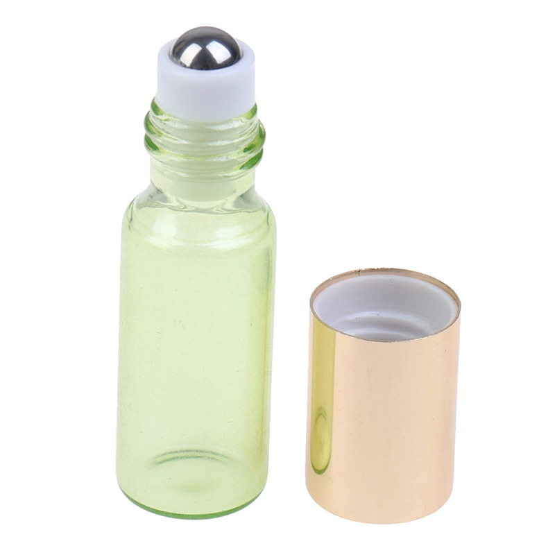 2pcs 3/5ml Thick Glass Roll On Essential Oil Empty Parfum Bottles Roller Ball Travel Use Necessaries