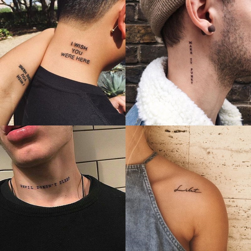 56Sheet Waterproof Temporary Tattoo Sticker Black Devil Doesn't Sleep English Letters Tatoo Fake Tatto Neck Wrist For Woman Men