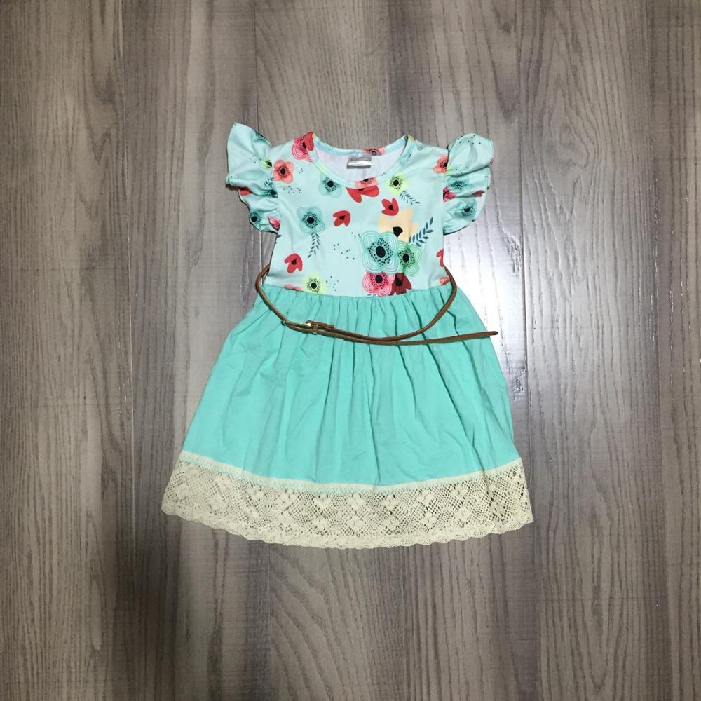 Primavera Verano bebé niñas vestido menta cinturón floral encaje ropa para niños boutique volantes leche seda longitud de la rodilla