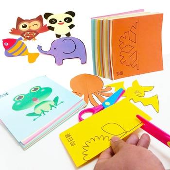 48 pièces enfants dessin animé bricolage papier coloré coupe pliant jouets kingergarden enfants artisanat d'art éducatif avec des outils de ciseaux cadeaux