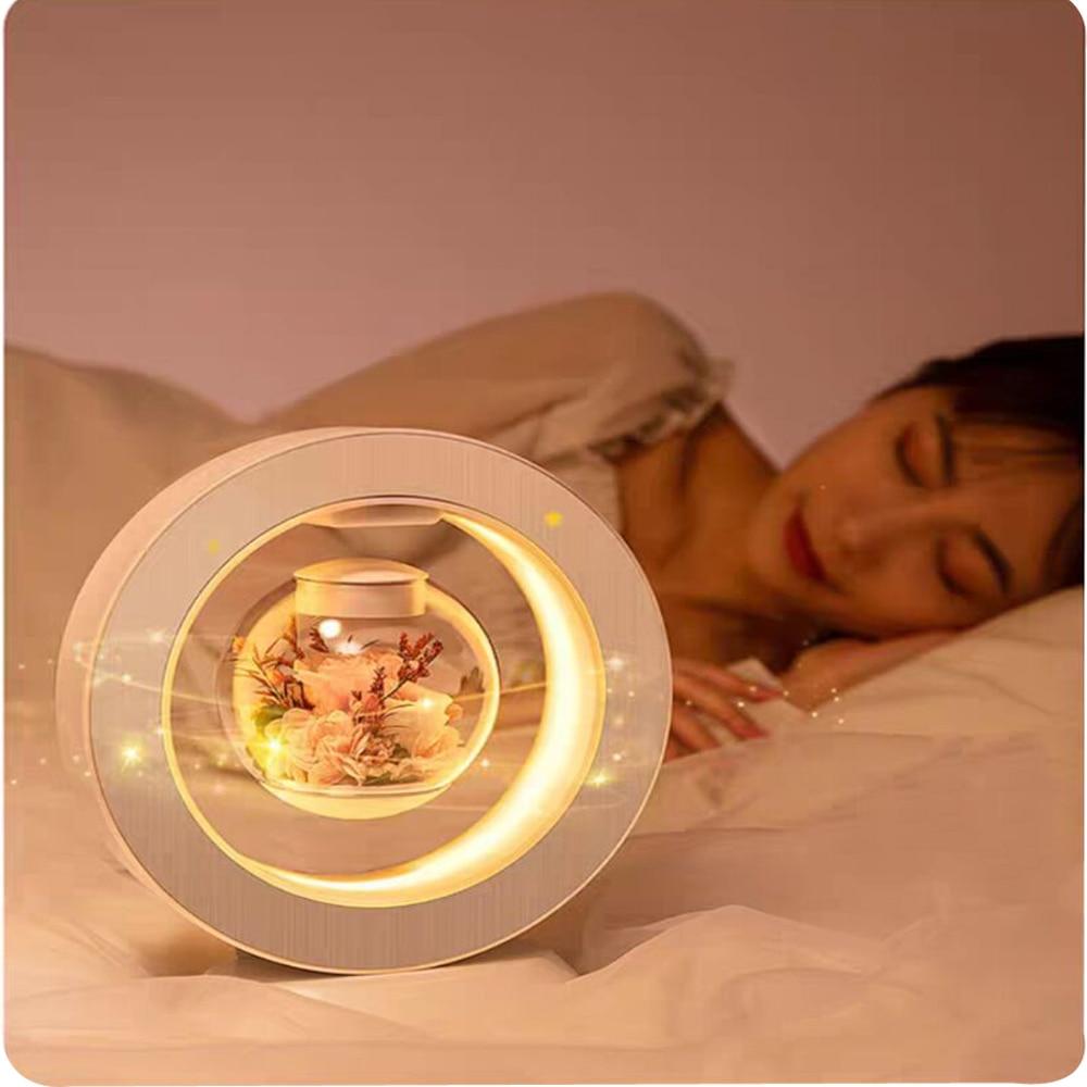 Table Lamp Rose Magnetic Levitation Immortal Flower LED Creativity Night Light Home Decor Room Sleeping Floating Desk Light