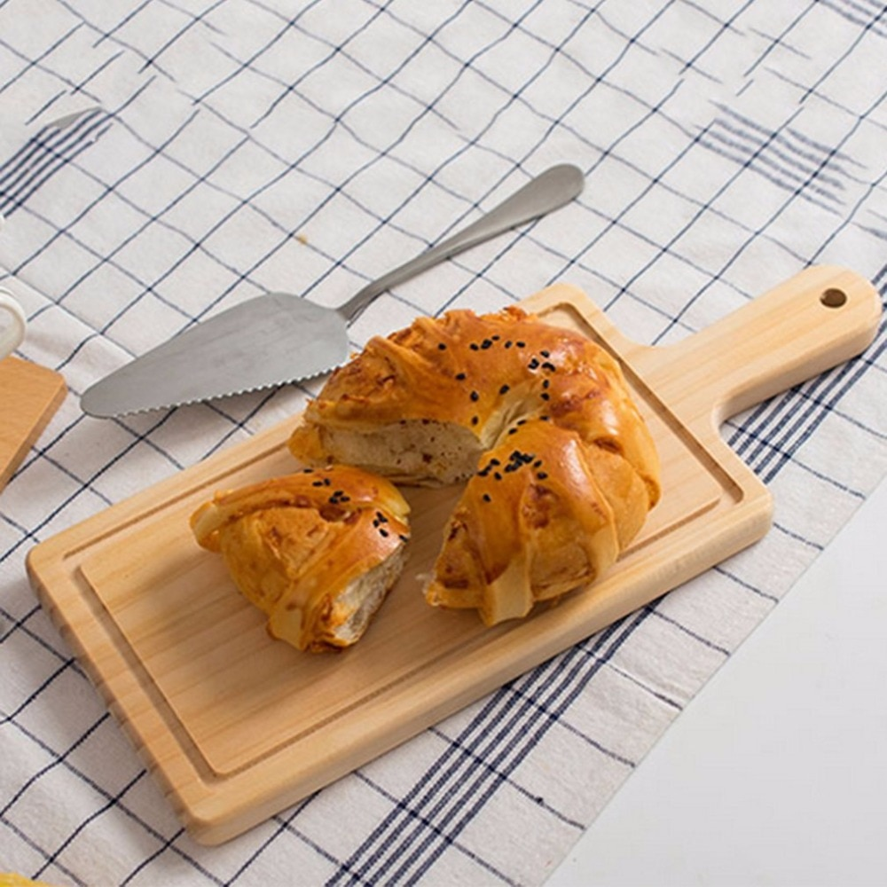 2 tamaños de cocina Natural bloques para cortar pan palé con mango para hornear tabla de cortar de madera accesorios de cocina hechos a mano