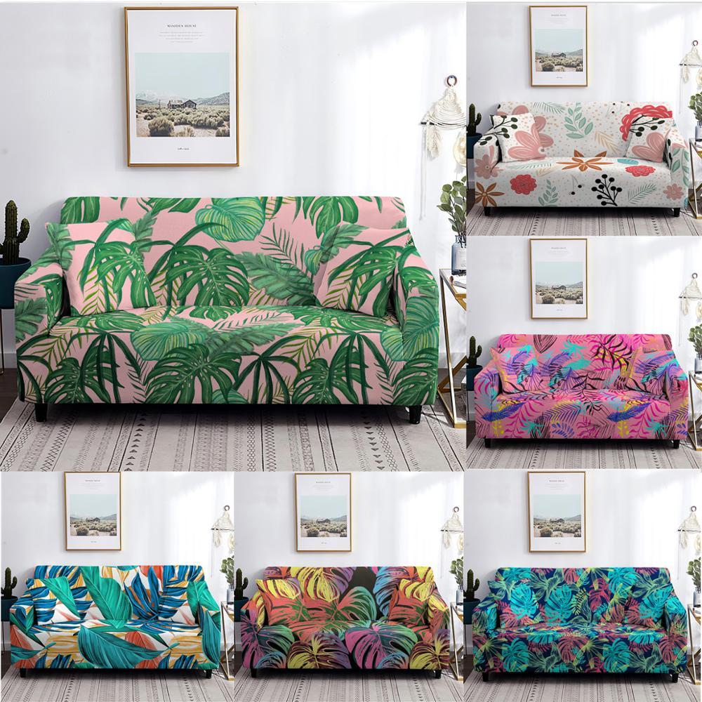 Plant print trecho sofá capa elástica slipcovers capas de sofá para sala de estar mobiliário decoração secional 1/2/3/4 assento