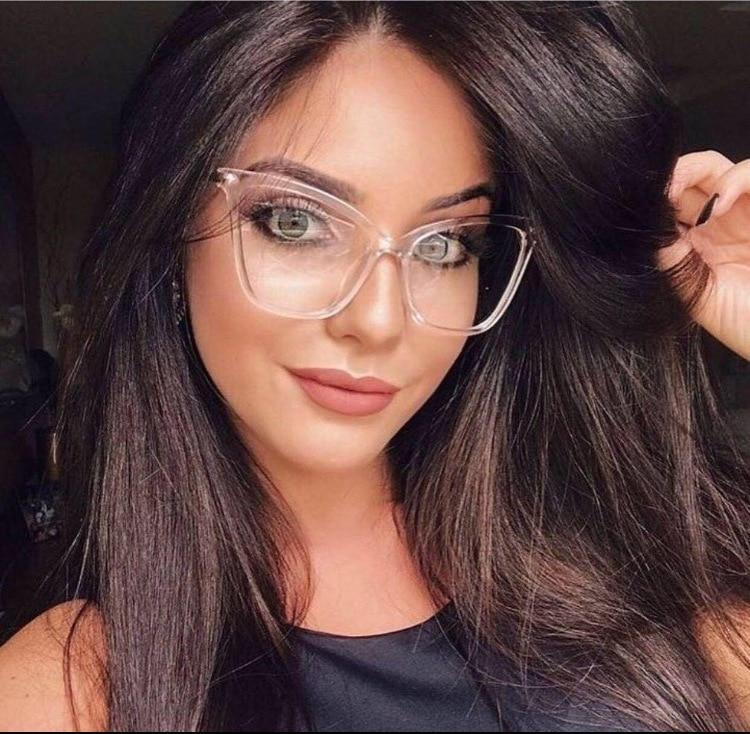 Женские большие очки KOTTDO, брендовые дизайнерские очки кошачий глаз, Классическая оправа для очков с прозрачными линзами и металлической оп...