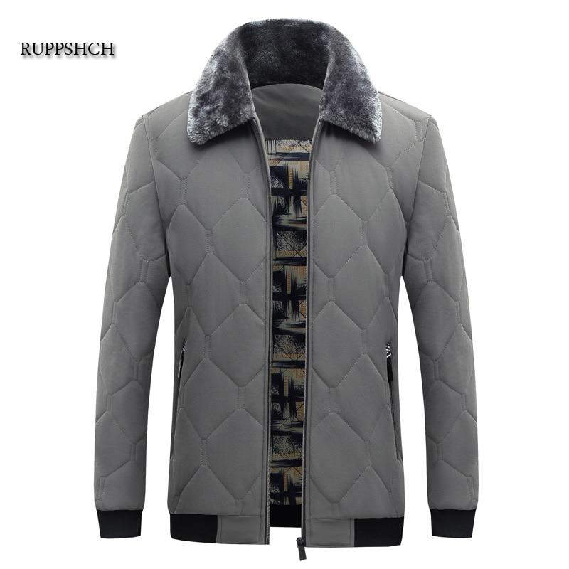 Winter Jacket Men's Fur Collar Hooded Thick Warm Cotton Jacket Men's Patchwork Parka Coat Windbreake