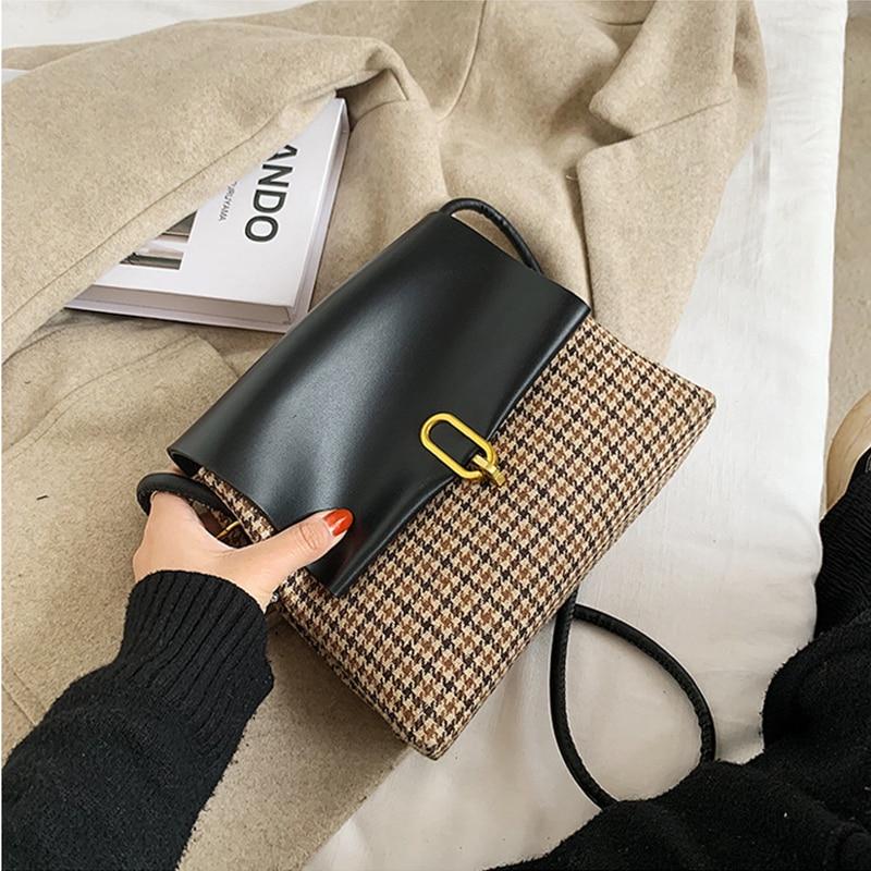 Tweed And Leather Patchwork Crossbody Bag 2020 Vintage Plaid Flap Handbags For Women Bolsa Feminina