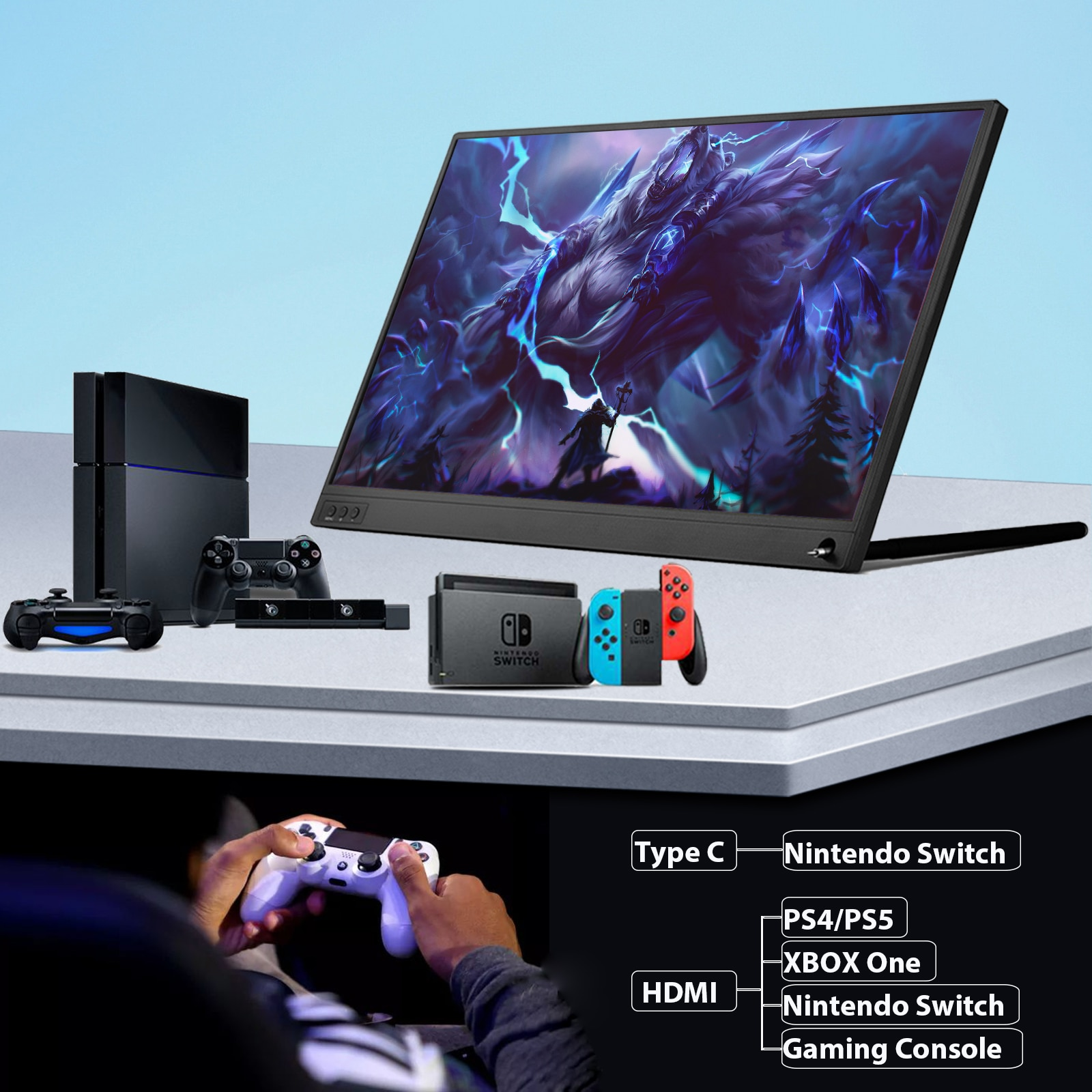 15.6inch gaming portable monitor usb c type c hdmi-compatible for ps5 laptop pc SWITCH Macbook Samsung S21 Huawei Mate 40