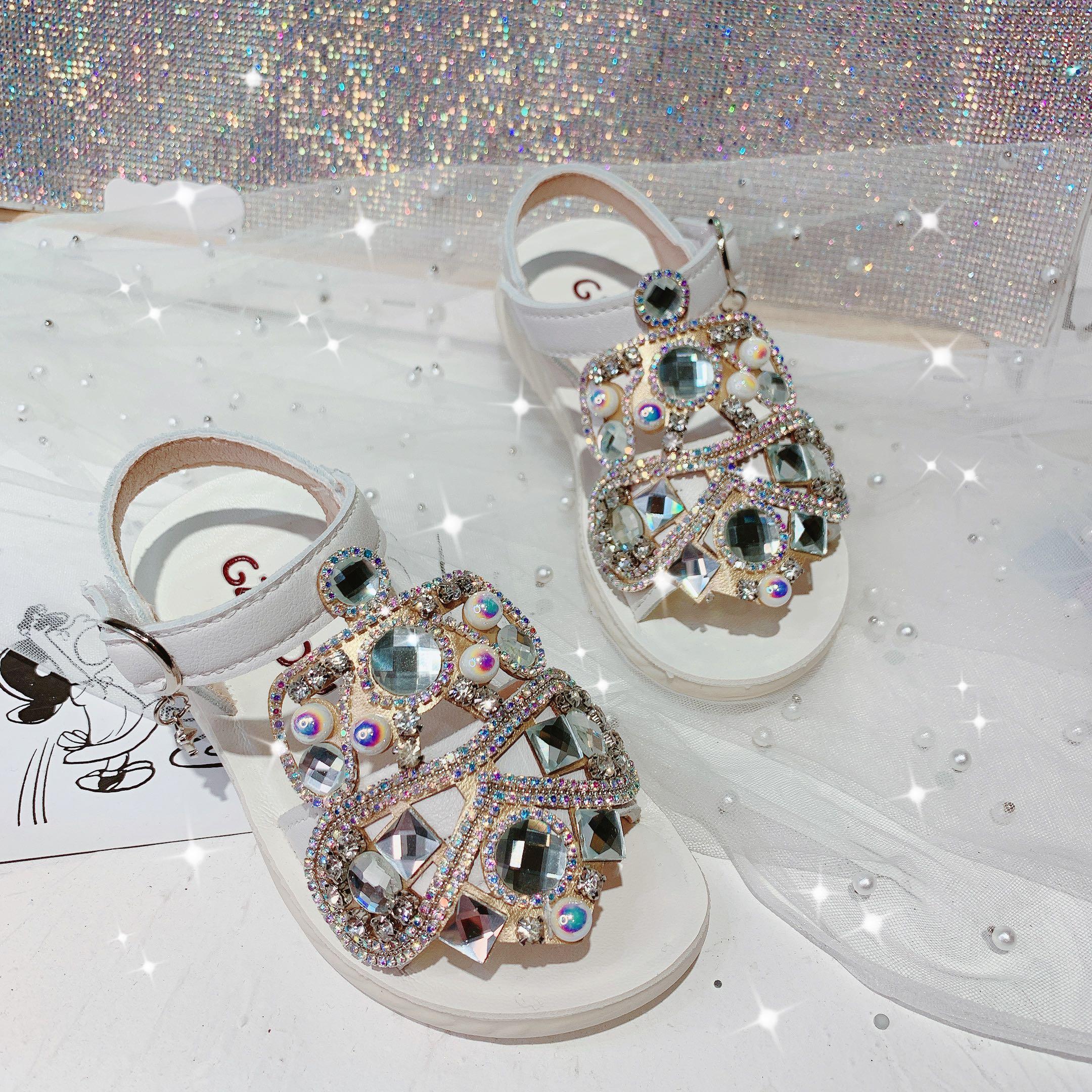 Koovan Children's Rhinestone Sandals 2020 Summer Girls Retro Crystal Luxury Roman Little Girl Retro Princess Shoes Sandals Cute