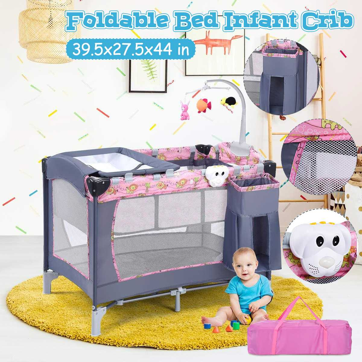 Multifunctional Children's Bed Baby Playpen Crib Toddler Foldable Travel Cradle Rocker Kid Game With Diaper Nursery Table