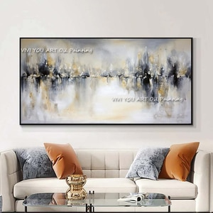 Large black  beige Wall Painting On Oil Painting Vertical Handmade Abstract Art Decorative  For Living Room Decoration
