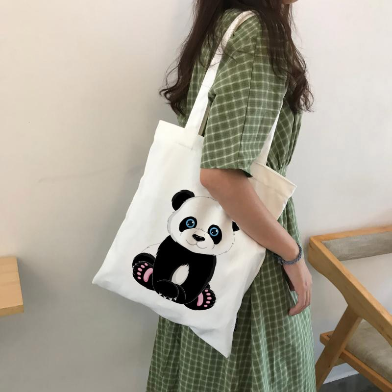 Panda Cartoon Cute Animal Print Ladies Handbags Canvas Tote Bag Shopping Travel Women Eco Reusable Shoulder Bags Bolsas De Tela