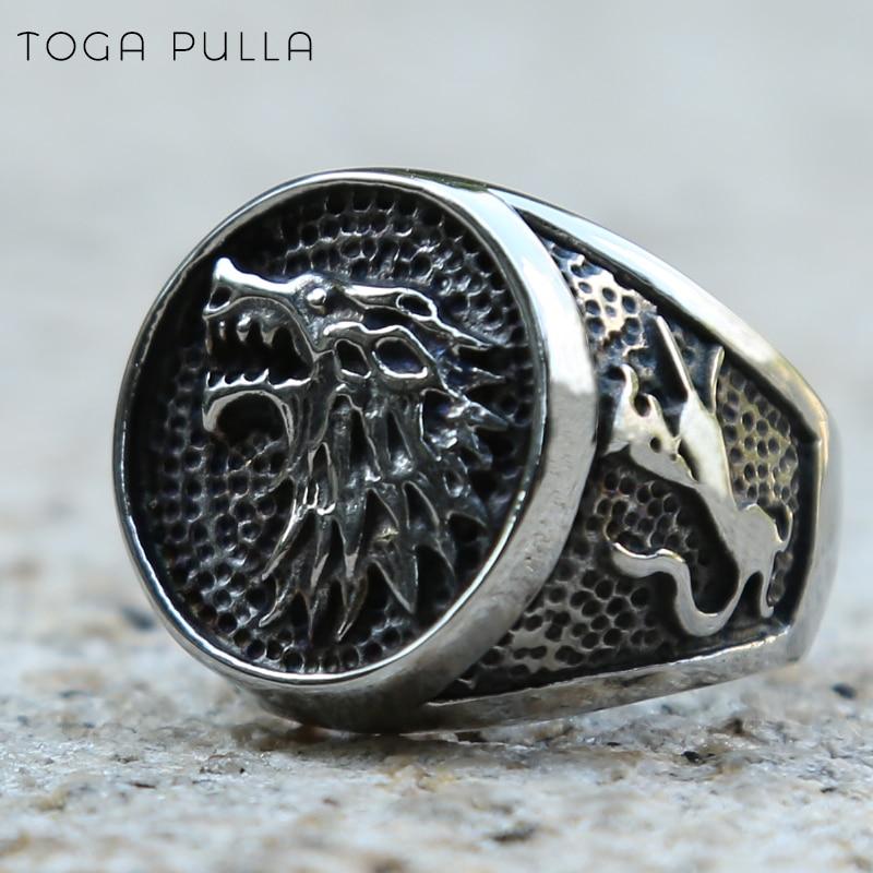 Anillo de lobo nórdico vikingo para hombres, Juego de tronos, casa de lobo helado Stark de Invernalia, anillo Vintage de acero inoxidable, joyería para motero Punk