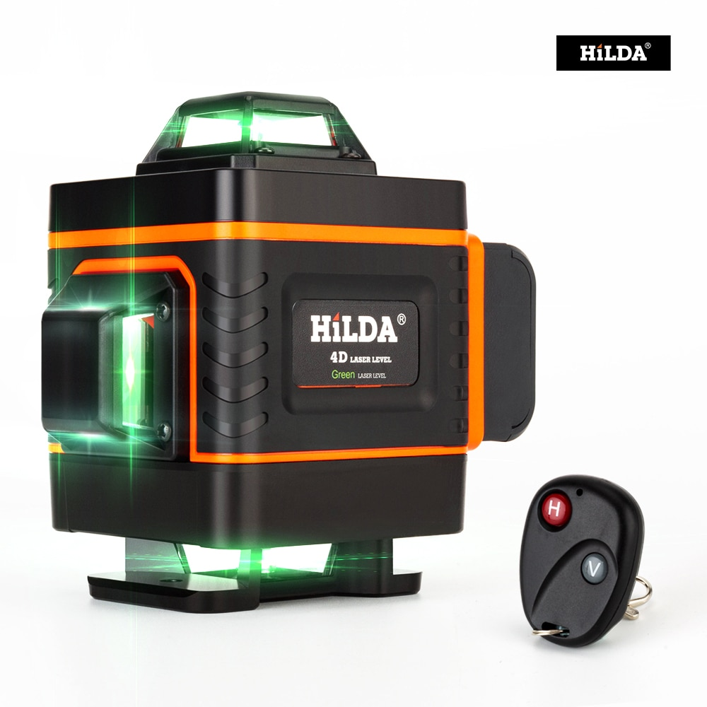 HILDA 16 líneas 4D láser nivel Cruz Línea Verde láser nivel autonivelante láser de nivel multiuso medida horizontal vertical