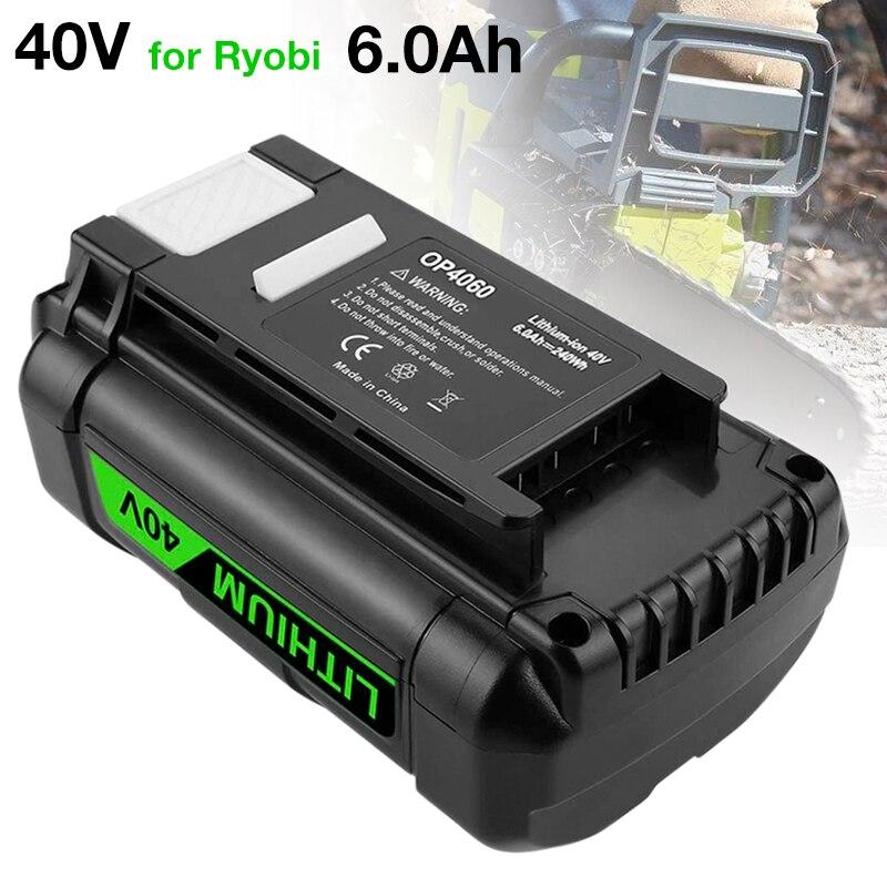 OP4050A OP4060 40V 6.0Ah بطارية ليثيوم أيون ل Ryobi 40 فولت اللاسلكي الطاقة أدوات بطارية OP4015 OP4026 OP4030 OP4040 OP40401