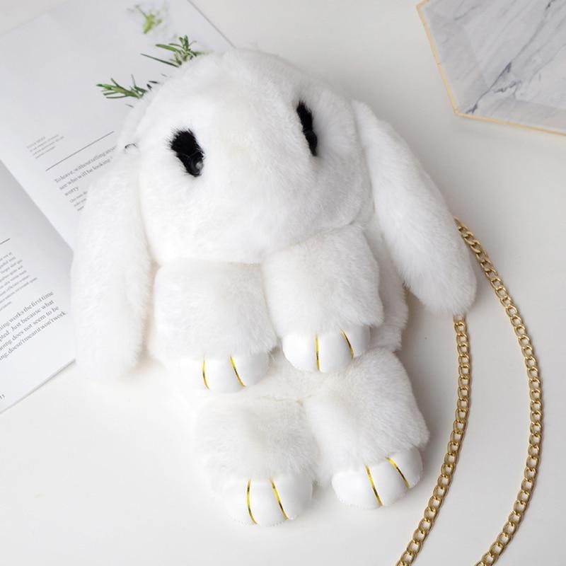 ZGY Fluffy Rabbit Plush backpack Kawaii Fur Pompoms Sling Chain Cute Shoulder Bag fashion Women Cartoon Bunny animal girls bag