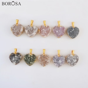 """BOROSA Heart Shape Natural Agates Druzy Pendant Necklace, 18"""" Gold Druzy Necklace for Women Birthday Valentines Gift G2019"""