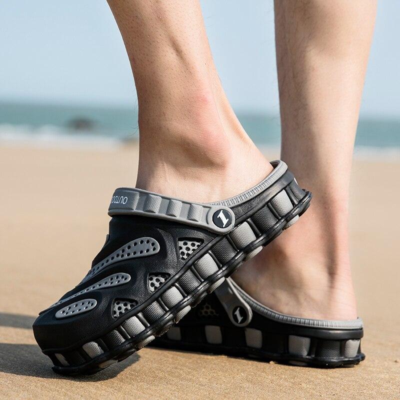Sapatos de Borracha Sapatos de Jardim ao ar Sandles para Homens Sandálias Tamancos Verão Buraco Livre Praia Plana Sapatos Tamanho Grande 2021